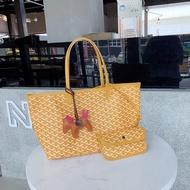 คุณภาพสูง[ราคาถูก][2 In 1] เกาหลีแฟชั่นกระเป๋าสุภาพสตรีกระเป๋าถือEMO Goyardกระเป๋าช้อปปิ้งกระเป๋าทรงสี่เหลี่ยมมีหูหิ้วสะพายไหล่กระเป๋าสตางค์