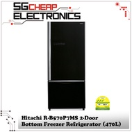 Hitachi R-B570P7MS 2-Door Bottom Freezer Refrigerator (470L)