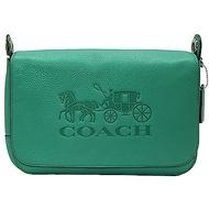 COACH 經典馬車LOGO 新款寬背帶 翻蓋郵差包 斜背包-綠色