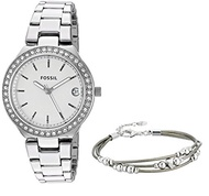 (Fossil) Fossil Women s Silvertone Blane Watch- (BandColor:silver)