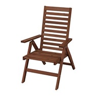 ÄPPLARÖ 戶外躺椅, 折疊式 棕色