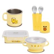 Kikimmy - LINE FRIENDS 304不銹鋼兒童餐具六件套組-莎莉和她的朋友款