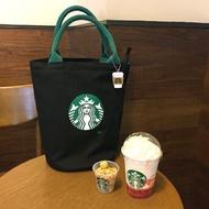 星巴克帆布包 Starbucks  日本出口 帆布 圓筒包 手提袋 單肩包 環保袋 手拎便當包 黑/白/卡其色