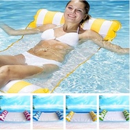 Summer Water Hammock Recliner Inflatable Floating Air Mattress Foldable Swimming Pool Lounge Bed Water Sports Lounge Bed Chairs