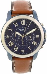 Fossil Men's Grant FS5151 Brown Leather Japanese Quartz Dress Watch