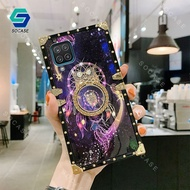 For Samsung Galaxy A12 Samsung A11 Samsung A01 Luxury Square Starry Sky Phone Case Soft Silicone Back Cover With Diamond Ring Bracket