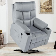 YODOLLA Electric Power Recliner Chair, Recliner Sofa with Massage & Heat Function, Lazy Boy Recliner Chair with Side Pockets and Cup Holder, USB Ports, Gray