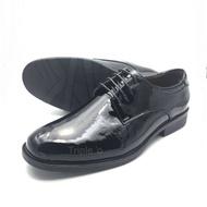 รองเท้าคัชชูหนังแก้วแบบผูกเชือก MJ400 สีดำ ไซส์ 39-45