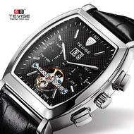 卡地亞同款tevise特威斯陀飛輪手錶多功能酒桶防水全自動方形機械錶男士