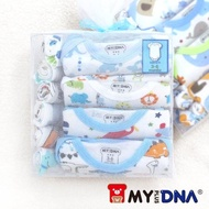 【MY+DNA熊本部】紗袋彌月禮盒純棉包屁衣四件組 短袖男款(B0001-01)
