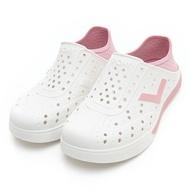 PONY【92U1SA02PK】Enjoy 洞洞鞋 水鞋 海灘鞋 可踩跟 懶人拖 菱格紋 白粉紅 男女尺寸都有