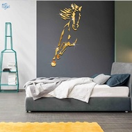 Mirror Wall Sticker Gloss Horse Mural Reflective Living Room Bedroom TV Backdrop Decals