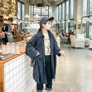 韓版復古簡約中長款襯衫裙加厚寬鬆大碼燈芯絨外套女 七色堇
