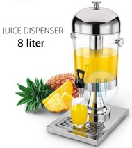 Stainless Steel 8 Litre Juice Drink Water Dispenser with Ice Chamber Catering Refillable Jug Water Storage Serving (Chrome Plated Stand) Balang Air Kaca