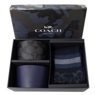 COACH LOGO款襪子杯套禮盒組(深藍)