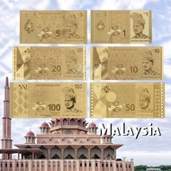 Full Set Of Malaysia Current Paper Money 1,5,10,20,50,100 Ringgit 24K Gold