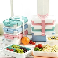 【索樂生活】韓國KOMAX 長型三層餐盒組(居家戶外野餐盒水果盒點心盒便當盒分層盒環保手提餐盒密封罐)