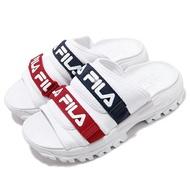 FILA【5S630T125】OUTDOOR SLIDE 拖鞋 鋸齒拖鞋 黏帶造型拖鞋 白藍紅 女生尺寸 韓國
