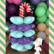 現貨 套裝桌上型氣球柱(NO.004聖誕拐杖) 聖誕樹 擺飾 桌上擺設 鋁膜氣球 四葉草 開幕 灌水底座 生日 藝術氣球