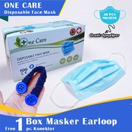 [1 box gratis 1 buah konektor] Masker Medis 3 Ply - Masker Medis 3 layer - MEDICAL MASK 3 PLY EARLOOP