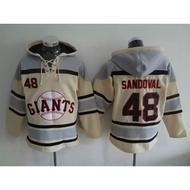 MLB棒球服GIANTS巨人隊48號SANDOVAL米色帽衫刺繡球衣2016款衛衣