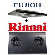 FUJIOH FR-MS1990R 90CM GLASS BLACK SLIMLINE HOOD WITH TOUCH CONTROL + RINNAI RB-2GI 2 BURNER INNER FLAME HOB