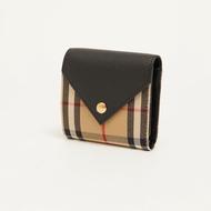 BURBERRY 格紋粒面皮革信封式三折短夾 皮夾 零錢包 THEPIER-現貨