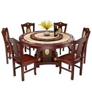 大理石餐桌椅組合圓桌子帶轉盤歐式實木圓形餐桌小戶型家用飯桌子
