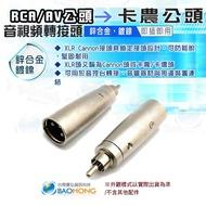 含稅價】鋅合金材質 RCA/AV公頭轉XLR(Cannon接頭)卡農公頭 RCA轉卡農 AV轉卡農 轉接頭 音訊轉接頭
