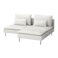 SÖDERHAMN 雙人座沙發, 含躺椅/finnsta 白色