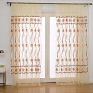 ❤️European Style Flower Sheer Curtain Rod Pocket Gauze Voile Curtain