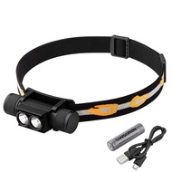 TANSOREN 2 LED Headlamp Flashlight USB Rechargeable Waterproof with 18650 Rechargeable Battery