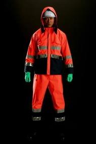 雨衣 M8920高視認性雨衣 上下 蛍光オレンジ 4Lサイズ