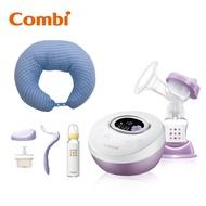 【日本Combi】自然吸韻電動吸乳器 Light 加哺乳靠墊 贈手動配件組、標準玻璃奶瓶哺乳靠墊顏色:藍