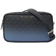 【Michael Kors】滿版MK雙層相機包/手拿包/斜背包(深藍)
