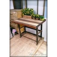 美國古董舊木料桌面展示桌 鐵製裁縫桌腳 復古老桌子 [TABLE-0123]