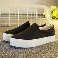 2021รองเท้าผ้าใบผญสีดำ รองเท้าผ้าใบ รองเท้าเพิ่มความสูงสำหรับผู้หญิง รองเท้ายางคัชชู ทรงยอดนิยม ที่สุดของความอมตะแฟชั่น !!!!!