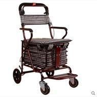 『現貨』老年代步車折疊購物車座椅可坐四輪買菜助步可推小拉車老人手推車