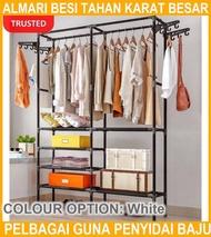 Rak Almari Besi Tahan Karat Besar Pelbagai Guna Penyidai Baju Rak/ Large Stainless Steel Wardrobe Storage Clothes Rack
