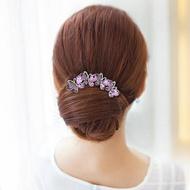 新娘頭飾  蝴蝶結髮飾韓國髮夾髮卡丸子頭盤髮器水鑽插梳髮梳簪子新娘頭飾品