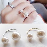 LUSION Bohemian เงินทองคู่แหวนมุกง่ายปรับแหวนสำหรับผู้หญิงงานแต่งงานเครื่องประดับราคาขายส่ง