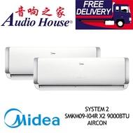MIDEA SYSTEM 2 OPAL 4 TICKS SMKM09-I04R X2 9000BTU AIRCON