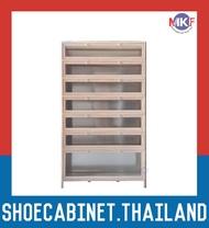 7 ชั้น สีลายไม้สว่าง บานใส ตู้รองเท้าอลูมิเนียม กันน้ำกันปลวก ตู้รองเท้า ชั้นวางรองเท้า กล่องใส่รองเท้า ตู้อเนกประสงค์ ALUMINIUM SHOE CABINET