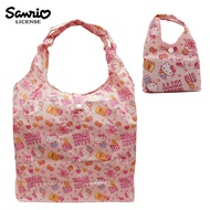 【日本正版授權】凱蒂貓 摺疊 購物袋/環保袋/手提袋 防潑水 Hello Kitty -粉色款