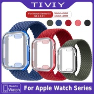 Braided Solo Loop+TPU Case For Apple Watch band 38mm 42mm 40mm 44mm Nylon fabric Bracelet i Watch SE Series 6 5 4 3 2 Protector Cover
