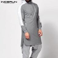 (Muslim) INCERUN Kemeja Jumper Pria Hoodie Lengan Panjang Muslim Kasual Pas dengan Kaftan