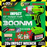 BOSSMAN ECO-Series BIW919 20V 1/2 Cordless Brushless Impact Wrench 300Nm w/ 1 x 20V 4.0Ah Battery + 1 x Charger