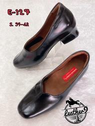 รองเท้าหนังแท้หญิง รองเท้าคัชชูทำงาน รุ่น E-127 สีดำ (ส่งฟรี มีรับประกัน)