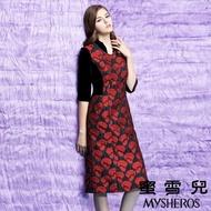 【mysheros 蜜雪兒】荷葉滾邊絲絨拚接花朵壓紋七分袖宴會洋裝(紅)