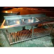 2二手 厚雙洗+平臺/2孔+平台/6尺不鏽鋼水槽 - 2槽+平台/雙槽加平臺